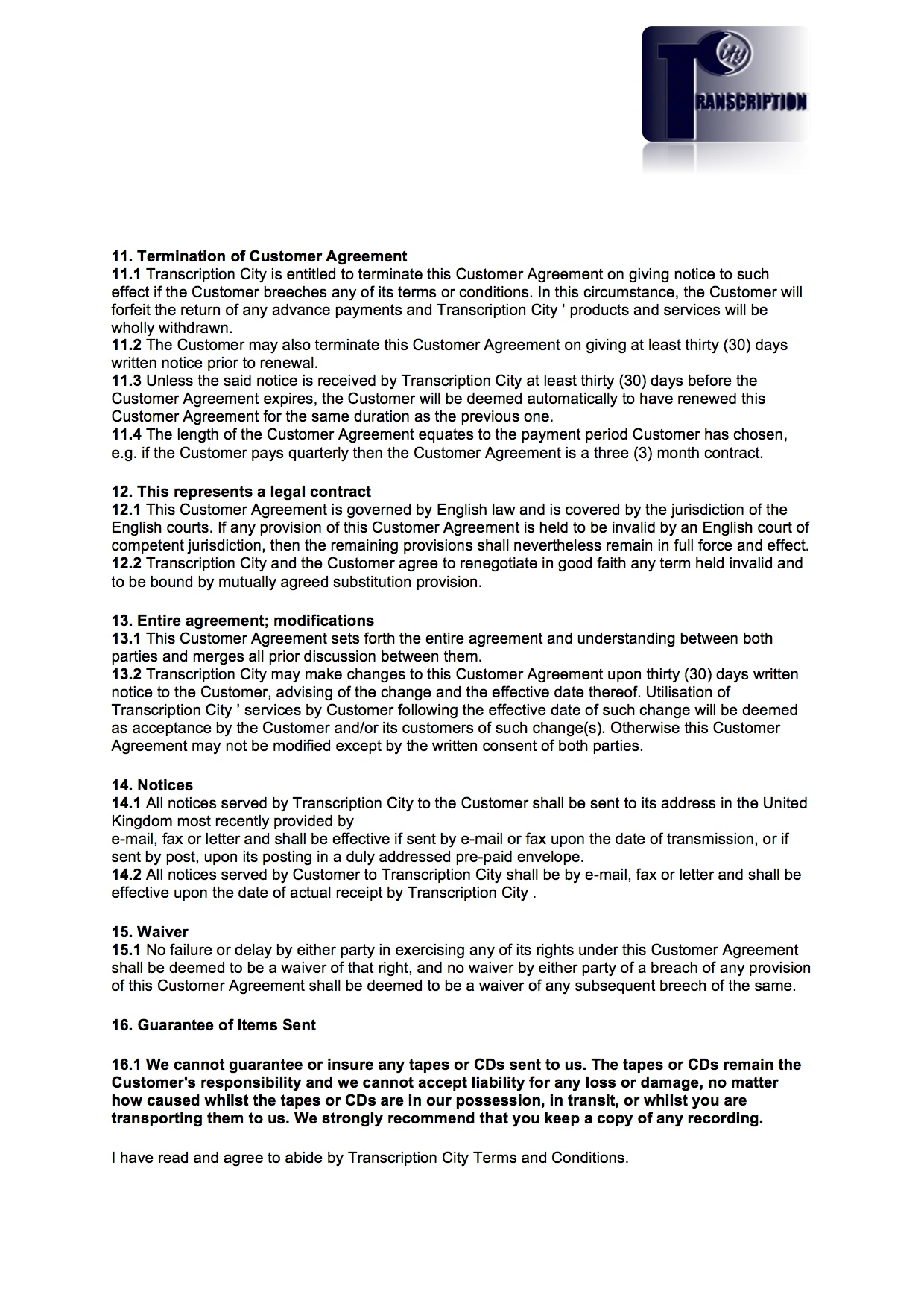 Transcription City Terms And Conditions For Clients Page 4